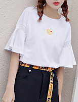 Women's Going out Casual/Daily Simple Summer Fall T-shirt,Geometric Letter Round Neck Half Sleeve Polyester Medium