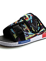 Men's Sandals Light Soles Summer Tulle Casual Split Joint Flat Heel Black Rainbow Black/Red Black/Blue Flat