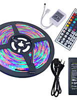Hkv® 5m imperméable à l'eau 3528 rgb 300led rgb strip light 44key ir télécommande 5a alimentation ca 100-240v