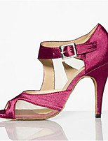Women's Latin Faux Leather Sandals Performance Sided Hollow Out Stiletto Heel Purple 3