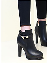 Women's Boots Slingback PU Spring Casual Black 3in-3 3/4in