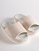 Cottonfabric Striped Slipper Spring Summer Fall Household   Orange  M  size