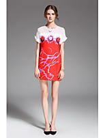 Для женщин Праздники На выход На каждый день Простое Свободный силуэт Платье Цветочный принт С принтом,Круглый вырез Выше коленаС