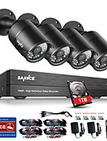 SANNCE® 8CH CCTV Security System Onvif 1080P AHD/TVI/CVI/CVBS/IP 5-in-1 DVR with 4*2.0MP Night Vision Weatherproof Cameras with 1TB HDD