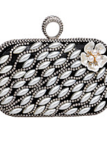 Women Evening Bag Polyester Metal All Seasons Wedding Event/Party Formal Minaudiere Rhinestone Pearl Detailing Clasp LockRed Silver Black