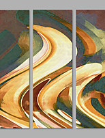 IARTS® Hand Painted Abstract Sand Colorful Wave Lines Oil Painting Set of 3 with Stretched Frame Picture For Home Decoration Ready To Hang