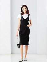 INPLUS Women's Going out Cute Summer T-shirt Skirt SuitsSolid Round Neck Short Sleeve Micro-elastic