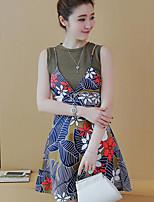 Для женщин Повседневные Лето Tank Top Платья Костюмы Круглый вырез,На каждый день Цветочный принт Без рукавов strenchy