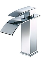 Centerset Waterfall with  Ceramic Valve Single Handle One Hole for  Chrome , Bathroom Sink Faucet