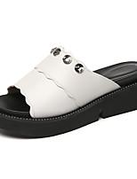 Women's Slippers & Flip-Flops Comfort Gladiator Summer Synthetic Microfiber PU Casual Rhinestone Wedge Heel White Black Ruby 1in-1 3/4in