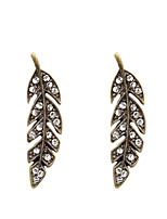 Fashion Women Rhinestone  Metal Leaf Alloy Drop Earrings