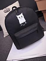 Women Backpack PU All Seasons Casual Round Zipper Gray Black