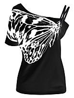 Mujer Chic de Calle Noche Casual/Diario Tallas Grandes Fiesta/Cóctel Primavera Verano Camiseta,Escote Barco Un Color Manga Corta Algodón