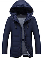 Men's Regular Down Coat,Simple Daily Solid-Polyester Polyester Polypropylene Long Sleeve
