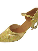 Women's Latin Glitter Sandals Performance Sparkling Glitter Cuban Heel Gold 2