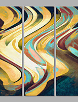 IARTS® Hand Painted Abstract Sand Thin Colorful Wave Lines Oil Painting Set of 3 with Stretched Frame Picture For Home Decoration Ready To Hang