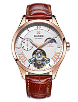 Муж. Часы со скелетом Модные часы Механические часы С автоподзаводом Защита от влаги Фосфоресцирующий Кожа Группа Черный Коричневый