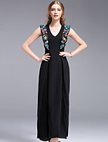 DFFD Women's Party Holiday Going out Simple Street chic Sheath Swing DressEmbroidered V Neck Midi Sleeveless Polyester Others Summer Mid Rise