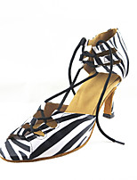 Women's Latin Faux Leather Sandals Performance Pattern/Print Stiletto Heel Black/White 3