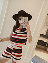Women's Daily Casual Casual Summer T-shirt Pant Suits,Striped Round Neck Short Pant strenchy