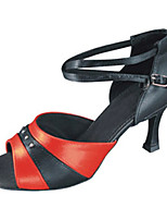 Women's Latin Faux Leather Sandals Performance Criss-Cross Stiletto Heel Black/Red 3
