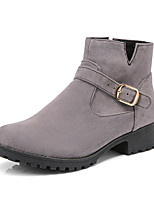 Women's Boots Comfort Leatherette Fall Winter Casual Dress Walking Comfort Buckle Chunky Heel Ruby Yellow Gray Black 1in-1 3/4in