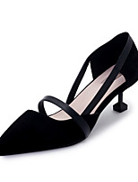 Women's Sandals Classic Fashion Club Shoes PU Spring Summer Party/Evening Daily Dress Going out Kitten Heel Blushing Pink Black1in-1