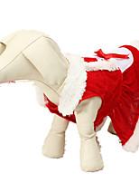 Собака Костюмы Одежда для собак Рождество Сплошной цвет Красный