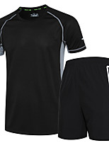 Men's Running T-Shirt with Shorts Short Sleeves Fitness, Running & Yoga Quick Dry Clothing Suits for Running/Jogging Exercise & Fitness