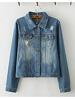 Women's Casual/Daily Simple Spring Fall Denim JacketSolid Shirt Collar Long Sleeve Regular Cotton