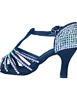 Women's Latin Polyamide fabric Sandals Indoor Rhinestones Black 2