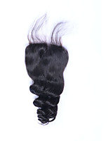 Fashion Good Feedback Grade 8A Natural Black Loose Wave Brazilian Virgin Human Hair Closures Free/Middle/3 Part 4*4 Swiss Lace Closures with Baby Hair