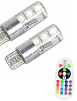 2pcs T10 W5W 5050 SMD RGB Car Reading Wedge Light Lamp 6 LED 16 Colors LED Flash/Strobe Bulb With Remote Controller DC12V