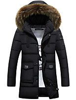 Men's Padded Coat,Simple Casual Solid-Polyester Polyester Long Sleeve