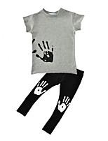 Boys' Palm Print Sets Cotton Spring Fall Short Sleeve T Shirt Long Pants 2pcs Clothing Set Kids Boys Clothes