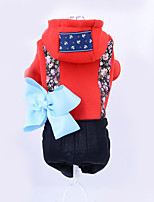 Dog Hoodie Dog Clothes Casual/Daily Floral/Botanical Blue Ruby