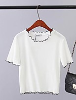 Women's Daily Casual Sexy Simple Cute Blouse,Solid Round Neck Short Sleeve Polyester