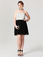 A-Linie Trägerlos Kurz / Mini Chiffon Spitze Cocktailparty Abschlussball Kleid mit Blume(n) Plissee durch TS Couture®