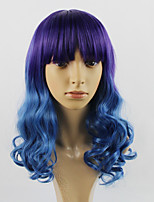 American and American Punk Dyed Purple Gradient Cosplay Wig Peacock Blue Cosplay Wig