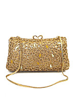 Women Designer Delicate Crystal Rhinestone Evening Clutches Purse Gold/Gary