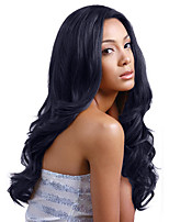 Elegant  Oblique Bangs Black Long Curly Hair Synthetic Wig