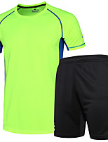 Men's Running T-Shirt Short Sleeves Moisture Wicking Quick Dry Clothing Suits for Running/Jogging Exercise & Fitness Loose Black/Green
