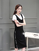 Women's Going out Soak Off Summer T-shirt Dress Suits,Solid Round Neck Short Sleeve