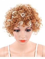 Short Kinky Curly Wigs For European and American Women Naturally Synthetic African Blond Mix White Hair Wigs Heat Resistant