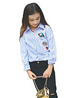 Girls' Stripes Shirt,Cotton All Seasons Long Sleeve Regular