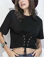 T-shirt Da donna Per uscire Casual Semplice Romantico Primavera Estate,Tinta unita Rotonda Cotone Manica corta Medio spessore
