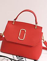 Women Shoulder Bag PU All Seasons Casual Outdoor Square Zipper Blushing Pink Red Black