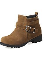 Women's Boots Comfort Leatherette Fall Winter Casual Dress Walking Comfort Buckle Chunky Heel Green Yellow Black 1in-1 3/4in