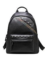 Women Backpack PU All Seasons Casual Outdoor Saddle Rivet Zipper Black 20-30