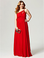Sheath / Column One Shoulder Floor Length Chiffon Formal Evening Dress with Side Draping Ruching Pleats by TS Couture®
